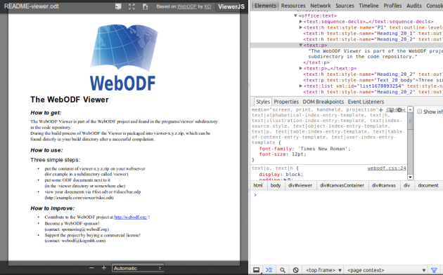 Inspecting a document in the WebODF Viewer.